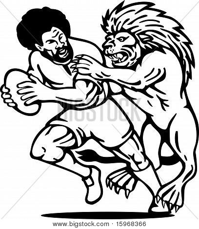 Rugby player running with ball attack by lion done in black and white