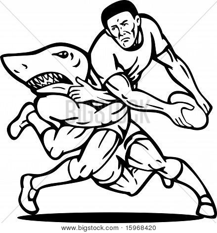 Rugby player passing ball tackled attacked by shark done in black and whi