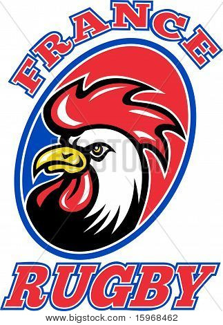French Rooster cockerel head rugby