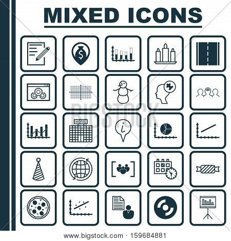 Set Of 25 Universal Editable Icons. Can Be Used For Web, Mobile And App Design. Includes Elements Such As Money Navigation, Square Diagram, Presentation And More.