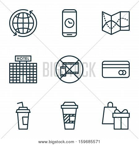 Set Of 9 Travel Icons. Can Be Used For Web, Mobile, UI And Infographic Design. Includes Elements Such As Road, Building, Device And More.