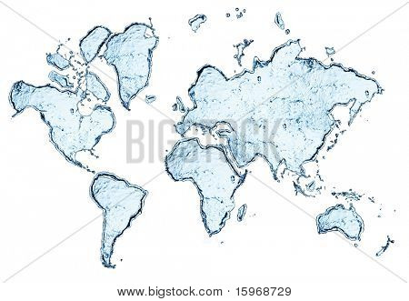 world map from water splashes isolated on white