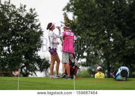 KUALA LUMPUR, MALAYSIA - OCTOBER 29, 2016: Sandra Gal of Germany takes a drink between her play at the TPC Golf Course at the 2016 Sime Darby LPGA Malaysia golf tournament.