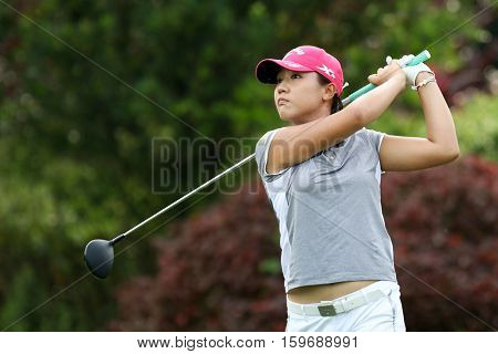 KUALA LUMPUR, MALAYSIA - OCTOBER 29, 2016: Lydia Ko of New Zealand tees off at the TPC Golf Course on Round 3 of the 2016 Sime Darby LPGA Malaysia golf tournament.