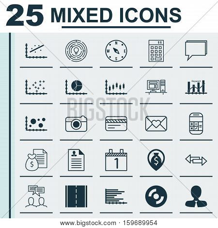 Set Of 25 Universal Editable Icons. Can Be Used For Web, Mobile And App Design. Includes Elements Such As Agenda, Report, Celebration Letter And More.