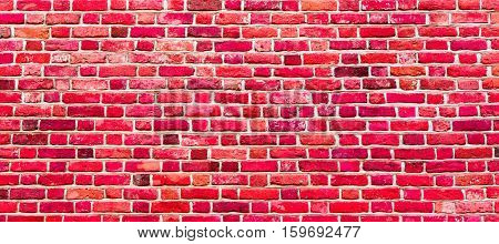 Stained Uneven Old Stucco Painted Red Brick Wall. Abstract Brickwall Background Texture. Modern Style Design Home House Interior Wallpaper Close up Wide Screen