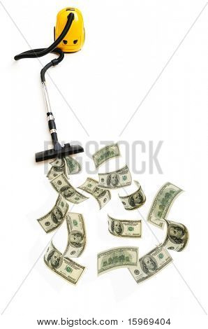 Concept with vacuum cleaner sucking money