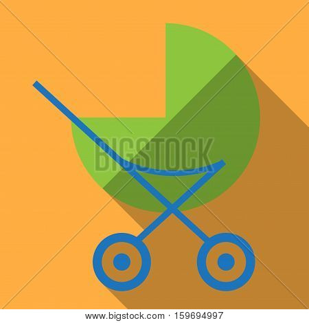 Toy for girl. Baby carriage. Inventory for the baby. It is easy to edit. Vector illustration.