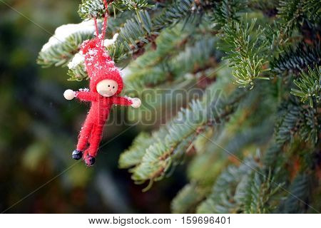 Christmas decoration, elf hanging in Christmas tree.