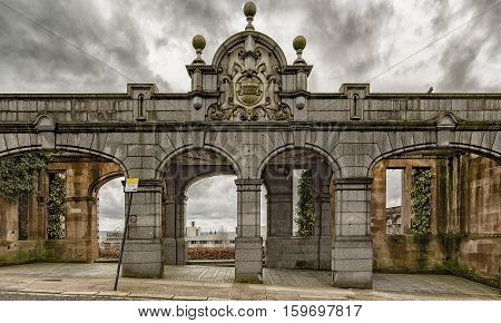 Rottenrow gardens entrance is all that remains of the rottenrow maternity hospital that used to occupy the site in Glasgow Scotland