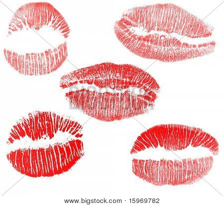 red lips imprints collection isolated on white background