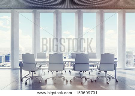 Conference Room With Wide Shades On Window. City