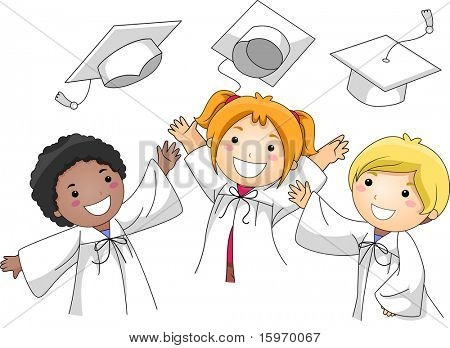 Illustration of Kids Tossing Their Graduation Caps in the Air