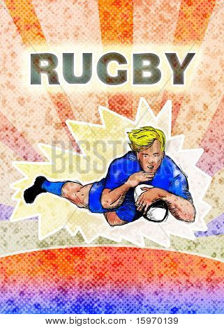 Rugby player diving to score try