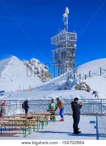 Mt. Titlis, Switzerland - 9 March, 2016: view on the top of the mountain. Titlis is a mountain of the Uri Alps, located on the border between the Swiss Cantons of Obwalden and Bern, mainly accessed from the town of Engelberg on the north side.