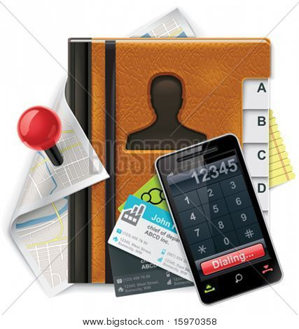 Vector address book XXL detailed icon