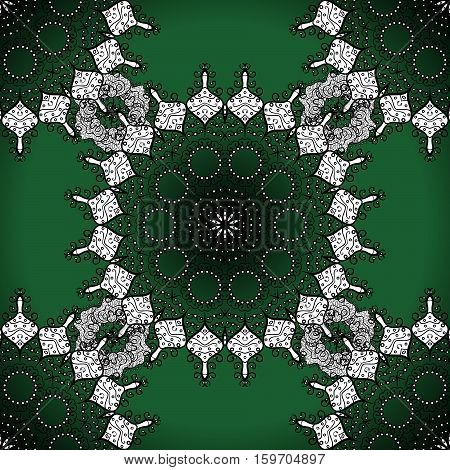 Seamless mandala pattern in green white on lime green background.