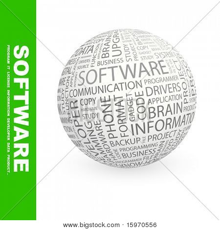 SOFTWARE. Globe with different association terms. Wordcloud vector illustration.