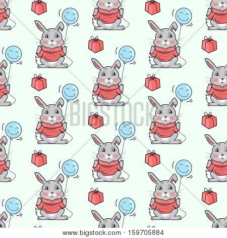 Funny rabbits vector seamless pattern. Rabbit or hare in sweater holding smiling balloon, present box near. Celebrating, party concept. For gift wrapping paper, greeting cards, invitations design