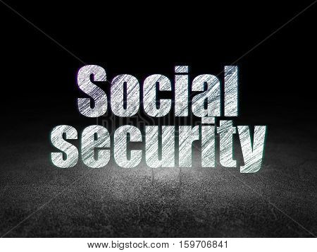 Privacy concept: Glowing text Social Security in grunge dark room with Dirty Floor, black background