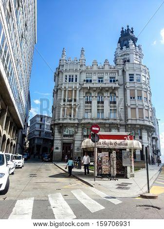 La Coruna, Galicia, Spain - September 8, 2014: Historic center of La Coruna, Northern Spain