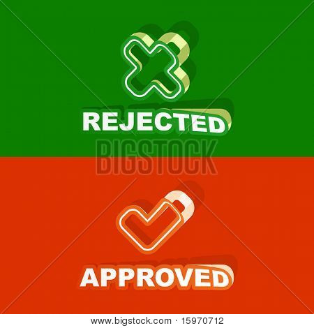 Approved and rejected sticker set. Vector illustration.
