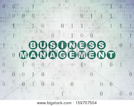 Finance concept: Painted green text Business Management on Digital Data Paper background with Binary Code