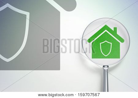 Finance concept: magnifying optical glass with Home icon on digital background, empty copyspace for card, text, advertising, 3D rendering