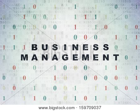 Finance concept: Painted black text Business Management on Digital Data Paper background with Binary Code