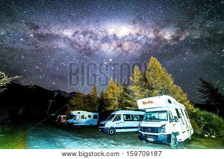 GLENTENNER NEW ZEALAND - AUGUST 30 2016: Milky way from glentanner campsite New Zealand.