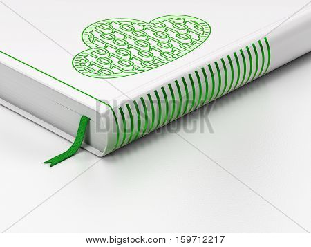 Cloud computing concept: closed book with Green Cloud With Code icon on floor, white background, 3D rendering