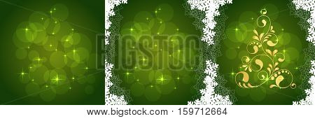 Abstract Christmas tree. Greeting, invitation card. Simple decorative green and gold. vector illustration
