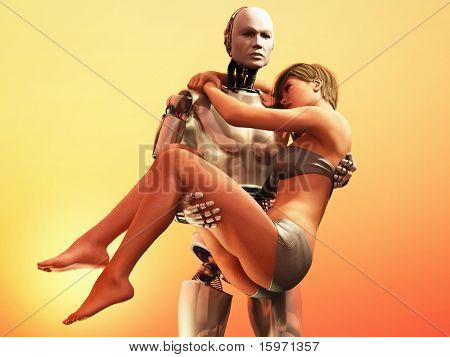 robot carrying weakness woman