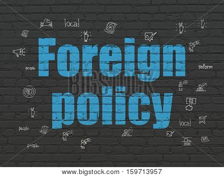 Politics concept: Painted blue text Foreign Policy on Black Brick wall background with  Hand Drawn Politics Icons