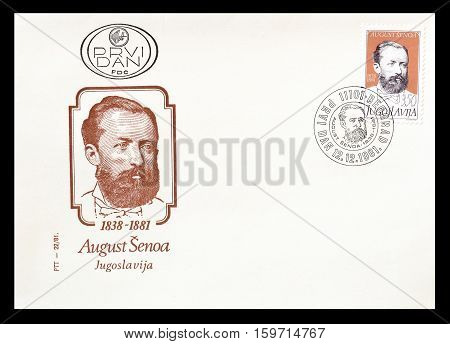 YUGOSLAVIA - CIRCA 1981 : Cancelled First Day Cover Letter printed by Yugoslavia, that shows August Senoa.