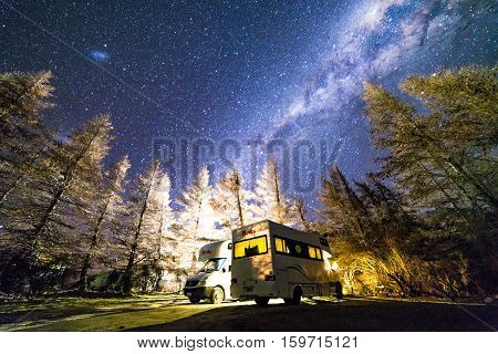 GLENTENNER NEW ZEALAND - AUGUST 30 2016: Milky way from glentenner campsite New Zealand.