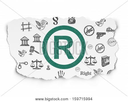 Law concept: Painted green Registered icon on Torn Paper background with  Hand Drawn Law Icons