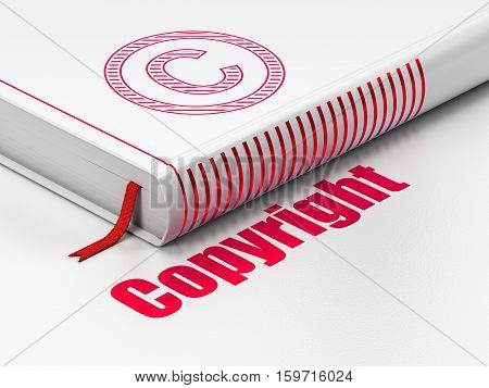 Law concept: closed book with Red Copyright icon and text Copyright on floor, white background, 3D rendering