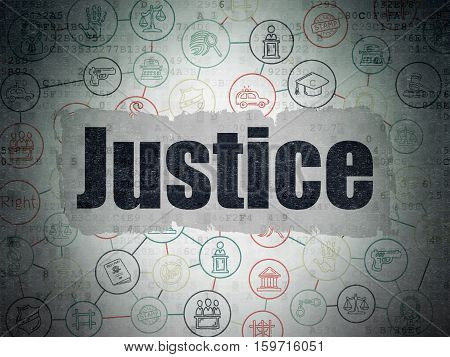 Law concept: Painted black text Justice on Digital Data Paper background with  Scheme Of Hand Drawn Law Icons