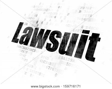 Law concept: Pixelated black text Lawsuit on Digital background