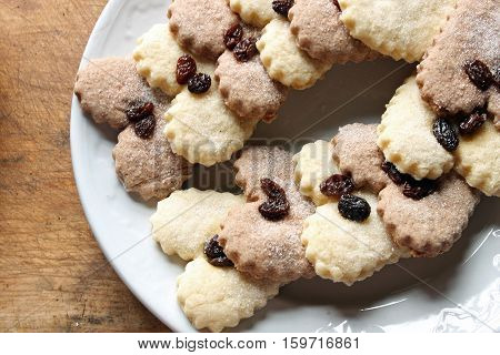 Close up view of Christmas cookies with raisins