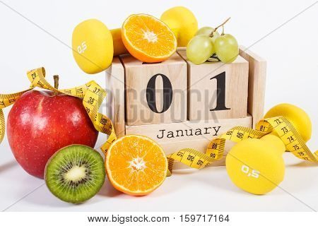 Cube Calendar, Fruits, Dumbbells And Tape Measure, New Years Resolutions