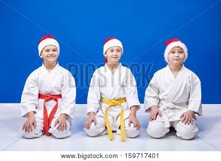 The girl and two boys sitting in a karate pose