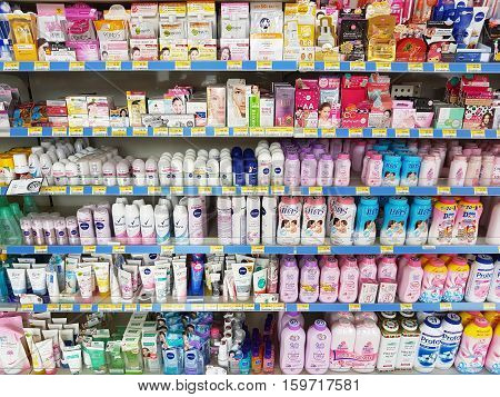 CHIANG RAI THAILAND - NOVEMBER 27: various brand of poders and cosmetics for sale on supermarket stand or shelf in Seven Eleven on November 27 2016 in Chiang rai Thailand