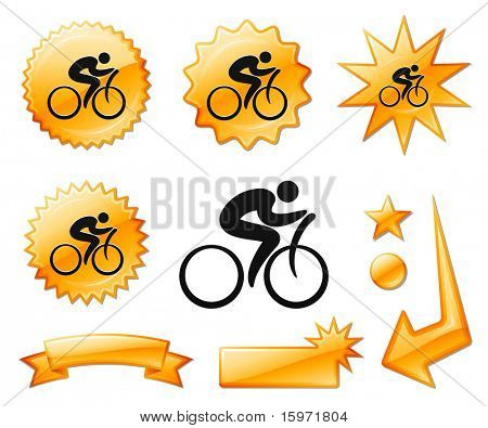 Cyclist Icon on Orange Burst Banners and Medals Original Vector Illustration