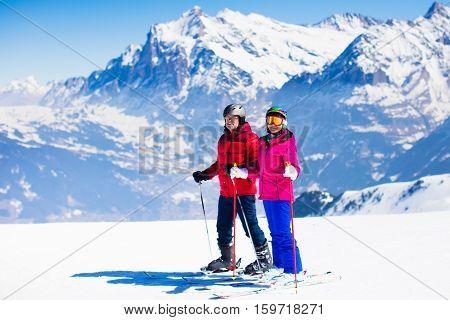 Ski And Snow Fun In Winter Mountains
