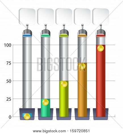 Infographics template with five column charts filled with liquid. Set of five column graphs with gold balls and blank banners