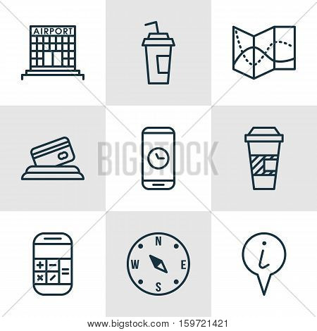 Set Of 9 Travel Icons. Can Be Used For Web, Mobile, UI And Infographic Design. Includes Elements Such As Math, Time, Paper And More.