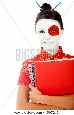 Japanese student with the flag painted on her face