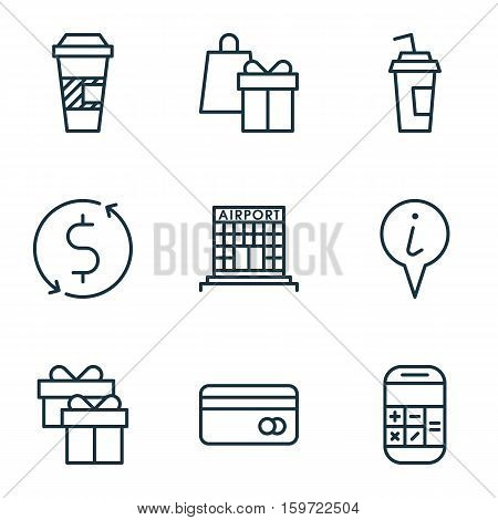 Set Of 9 Airport Icons. Can Be Used For Web, Mobile, UI And Infographic Design. Includes Elements Such As Airport, Paper, Debit And More.